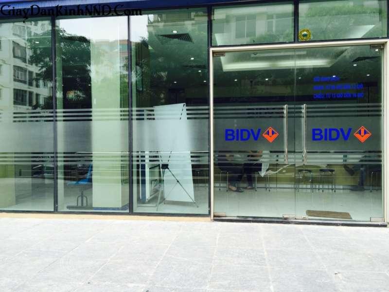 Dán kính mờ kết hợp in logo màu cho cửa ngân hàng