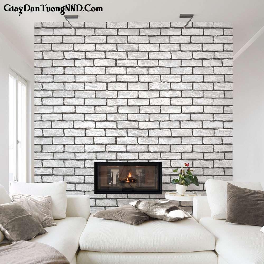 Giấy dán tường Hàn Quốc giả gạch màu trắng mã 2575-1 rất được ưa chuộng thời gian gần đây