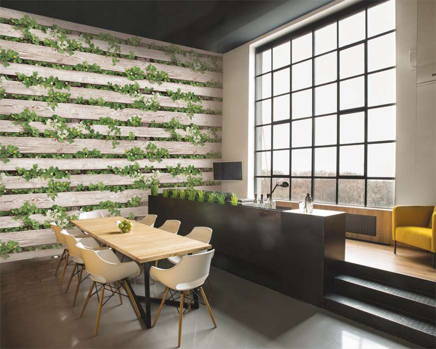 Sử dụng mẫu giấy dan tường 3D hình gỗ làm điểm nhấn cho phòng khách đẹp