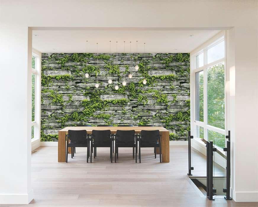 Giấy dán tường giả đá với cỏ mọc tạo điẻm nhấn rất độc đáo