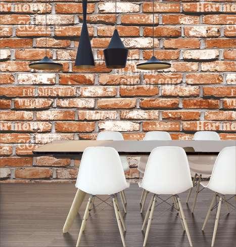 Mẫu giấy dán tường 3D giả gạch màu đỏ rất thật và đẹp thích hợp trang trí cho quán cafe