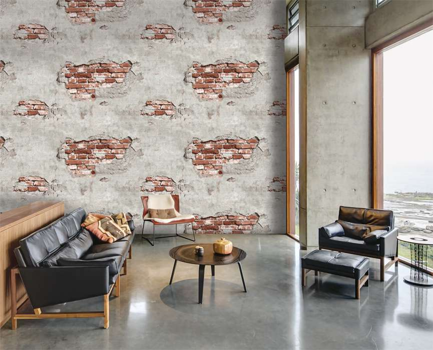 Mẫu giấy dán tường 3D giả gạch cổ cho phòng khách đẹp