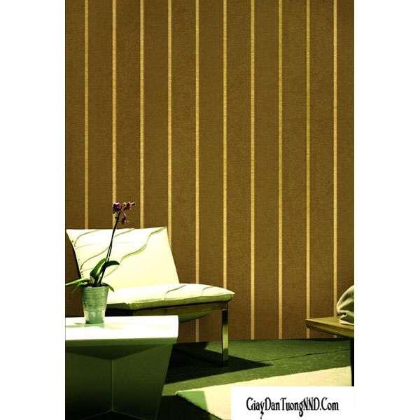 Mẫu giấy dán tường Hàn QUốc kẻ sọc nâu vàng