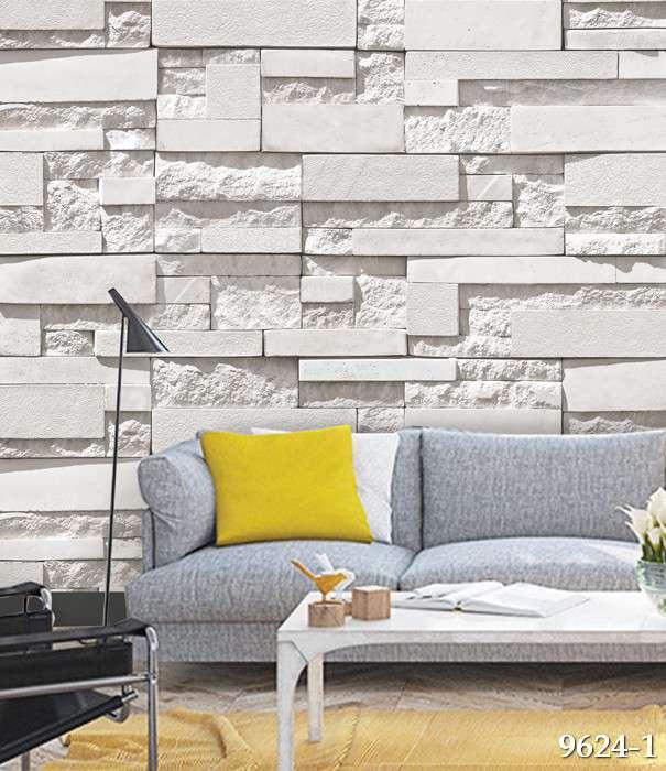 Giấy dán tường Hàn Quốc Feliz mã 9624-1 là mẫu giả đá màu trắng dạng 3D, chắc chắn là sự lựa chọn không thể bỏ qua cho điểm nhấn phòng khách