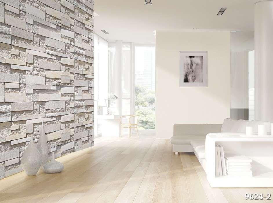 Giấy dán tường Hàn Quốc Feliz mã 9624-2 là mẫu giả đá màu vàng trắng dạng 3D, chắc chắn là sự lựa chọn không thể bỏ qua cho điểm nhấn phòng khách