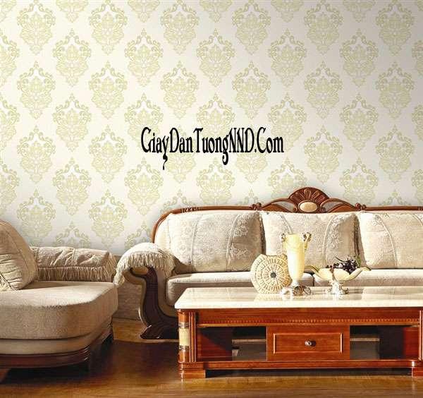 Trang trí phòng khách nhỏ bằng giấy dán tường cao cấp của Ý họa tiết cổ điển