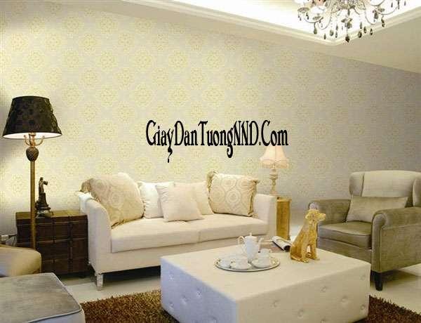 Trang trí phòng khách nhỏ bằng giấy dán tường hiện đại điểm nhấn của Ý