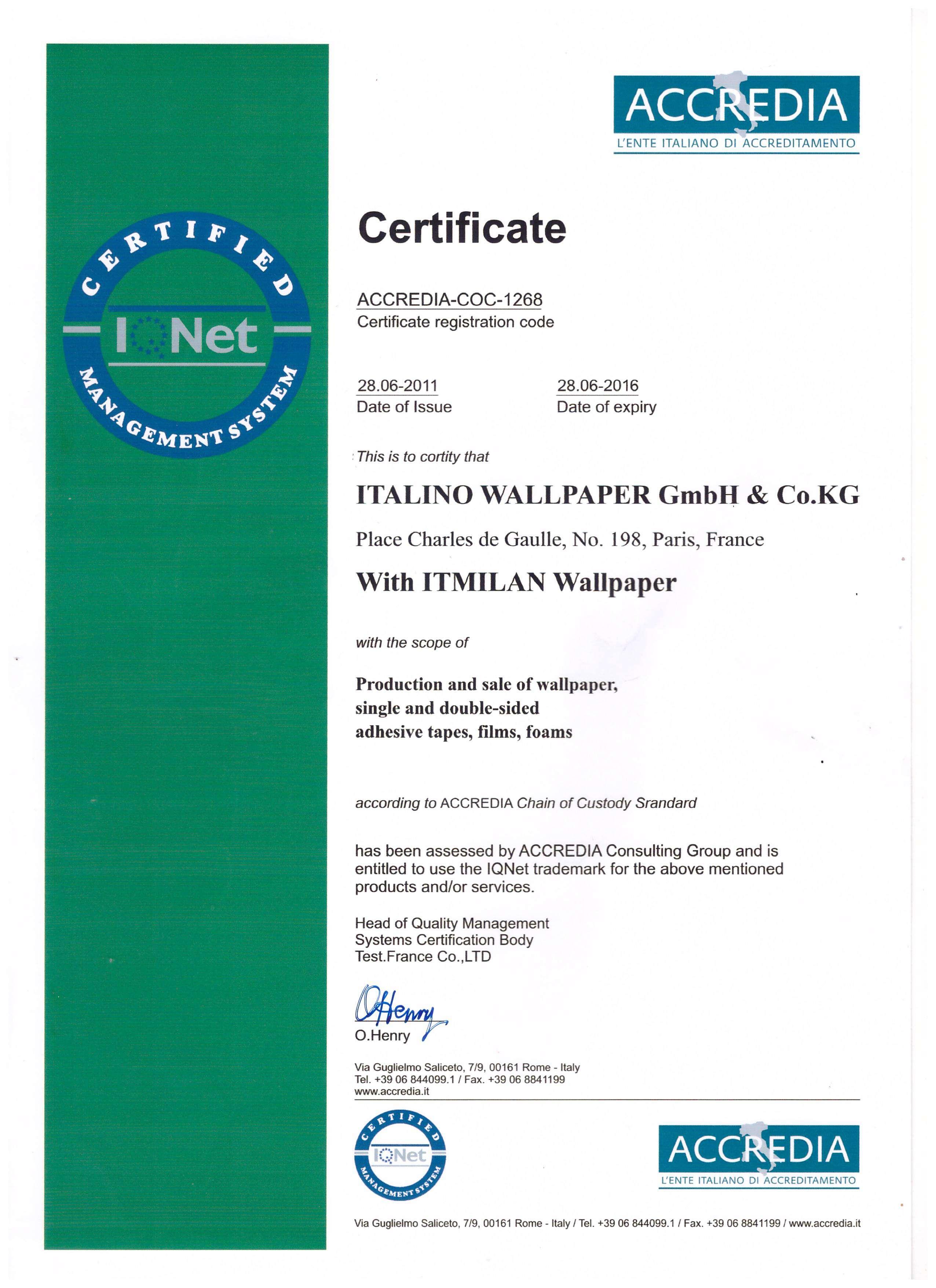 Chứng chỉ chất lượng sản phẩm giấy dán tường Ý thương hiệu Italino