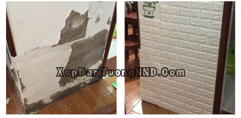 Xốp dán tường giúp che lấp khuyết điểm của tường rất tốt