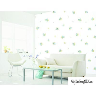 Giấy dán tường Hàn Quốc hoa xanh trên nền trắng mã 88052-1