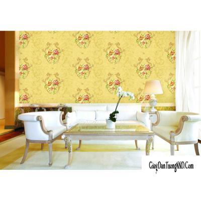 Giấy dán tường hoa đỏ trên nền vàng mã 88057-3