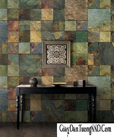 Giấy dán tường giả đá màu xanh rêu mã 87001-3