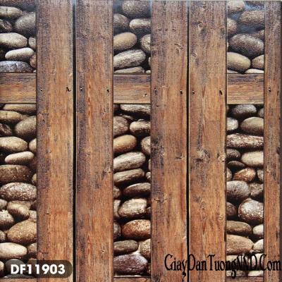 Giấy dán tường giả gỗ và sỏi mã DF11903