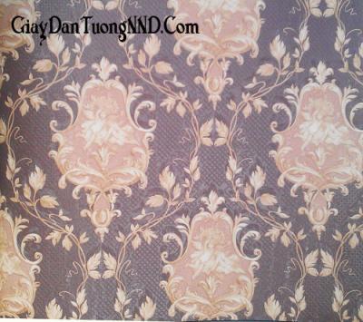 Giấy dán tường họa tiết màu tím đậm Trung Quốc giá rẻ mã 1068