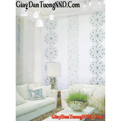 Giấy dán tường hình nối nhau màu xanh Mã 9165-1