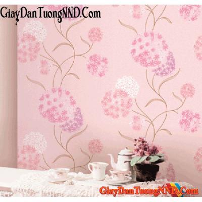 Giấy dán tường hoa cẩm tú cầu màu hồng Mã 9193-2