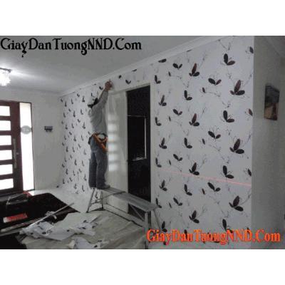 Giấy dán tường hình lá cây màu tối Mã  9651-3