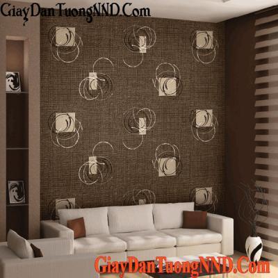 Giấy dán tường họa tiết trắng trên nền màu nâu Mã  9664-2