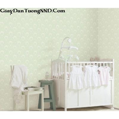 Giấy dán tường màu xanh họa tiết trắng mã 82373-1