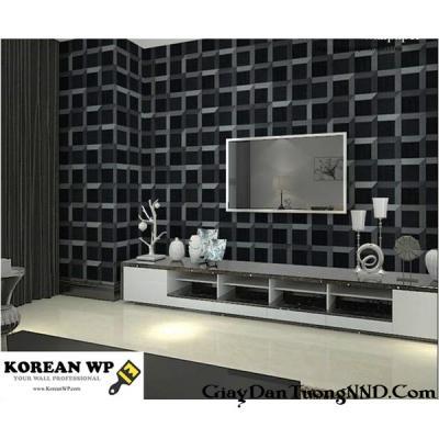 Giấy dán tường hình lập khối màu đen mã 82380-2