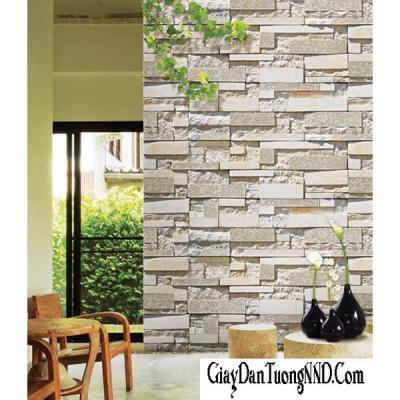 Giấy dán tường Hàn Quốc giả gạch màu trắng mã 87003-2
