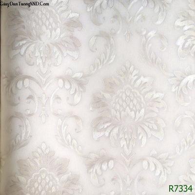 Giấy dán tường Ý hoa văn cổ điển trắng mã R7134