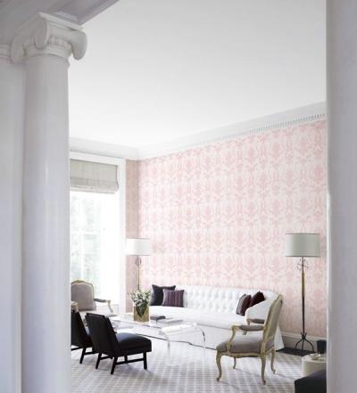 Giấy dán tường màu hồng họa tiết cổ điển mã: 59266-1