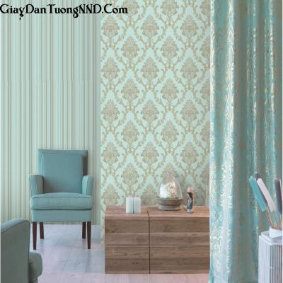 Giấy dán tường màu xanh họa tiết tân cổ điển tương xứng Ý mã S29
