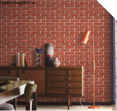 Giấy dán tường giả gạch đỏ mã S33