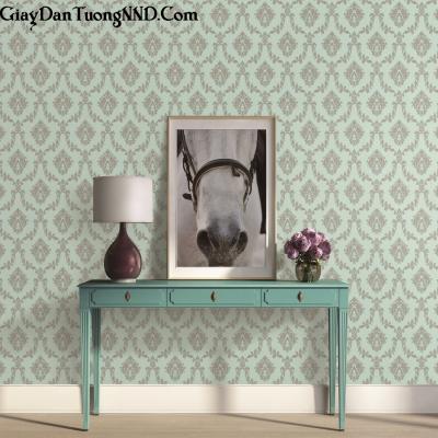 Giấy dán tường nền màu xanh họa tiết cổ điển Ý mã S46