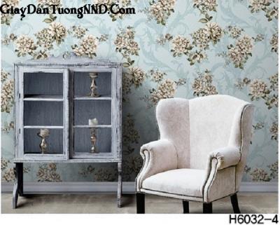 Giấy dán tường hình bông hoa to mã H6032-4 thuộc danh mục Hàn Quốc Hera