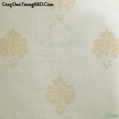 Giấy dán tường Ý hoa văn chìm trên nền màu vàng nhạt mã V9104 là mẫu Ý mã V
