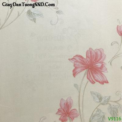 Giấy dán tường hình hoa loa kèn mã V9116 thuộc nhóm Giấy dán tường màu hồng