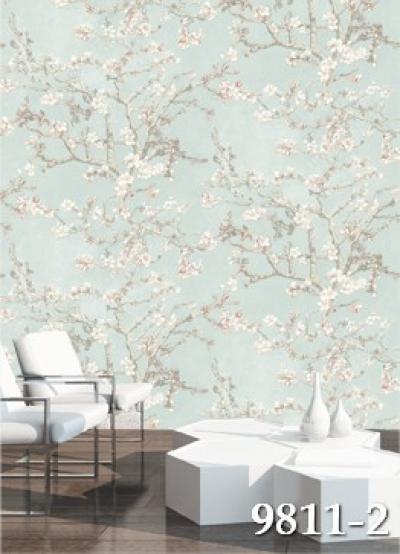 Giấy dán tường hình bức tường hoa màu xanh mã 9811-2