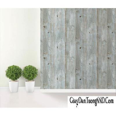 Giấy dán tường giả gỗ màu ghi xanh mã 87005-3