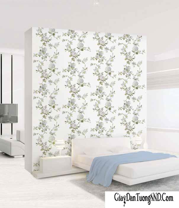 Sử dụng mẫu giấy dán tường Hàn Quốc dán điểm nhấn cho phòng ngủ