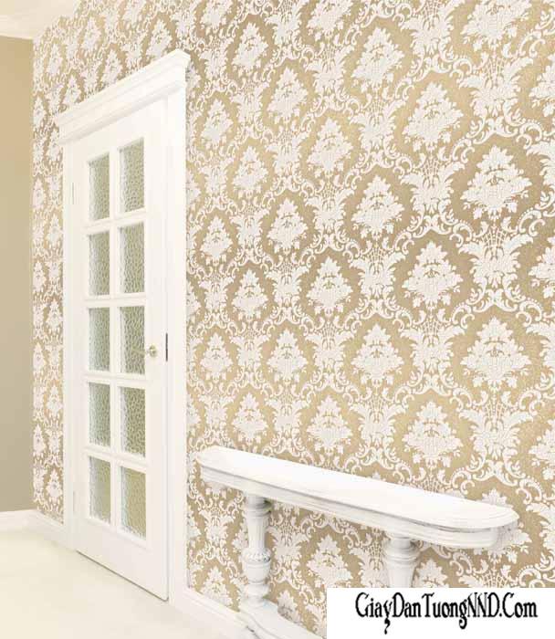Họa tiết cổ điển của giấy dán tường Hàn Quốc cho phòng khách nhỏ thêm sang trọng