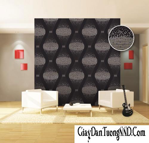 Mẫu giấy dán tường 3D nền màu đen với họa tiết hình lượn sóng trắng