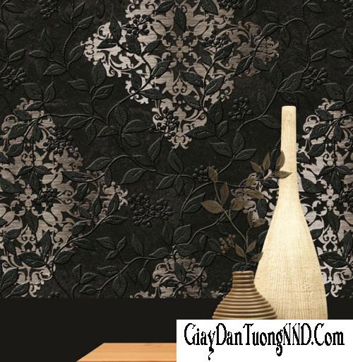 Mẫu giấy dán tường Hàn Quốc màu đen điểm họa tiết trắng nhẹ