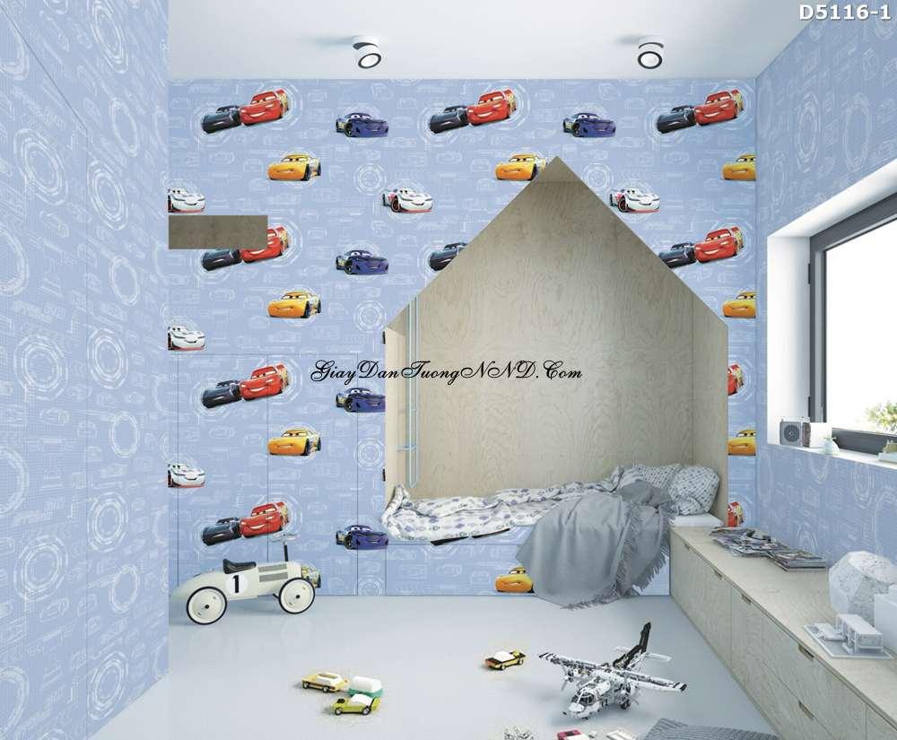 Giấy dán tường hình oto, xe hơi là kiểu mẫu chuyên dụng dán cho phòng bé trai