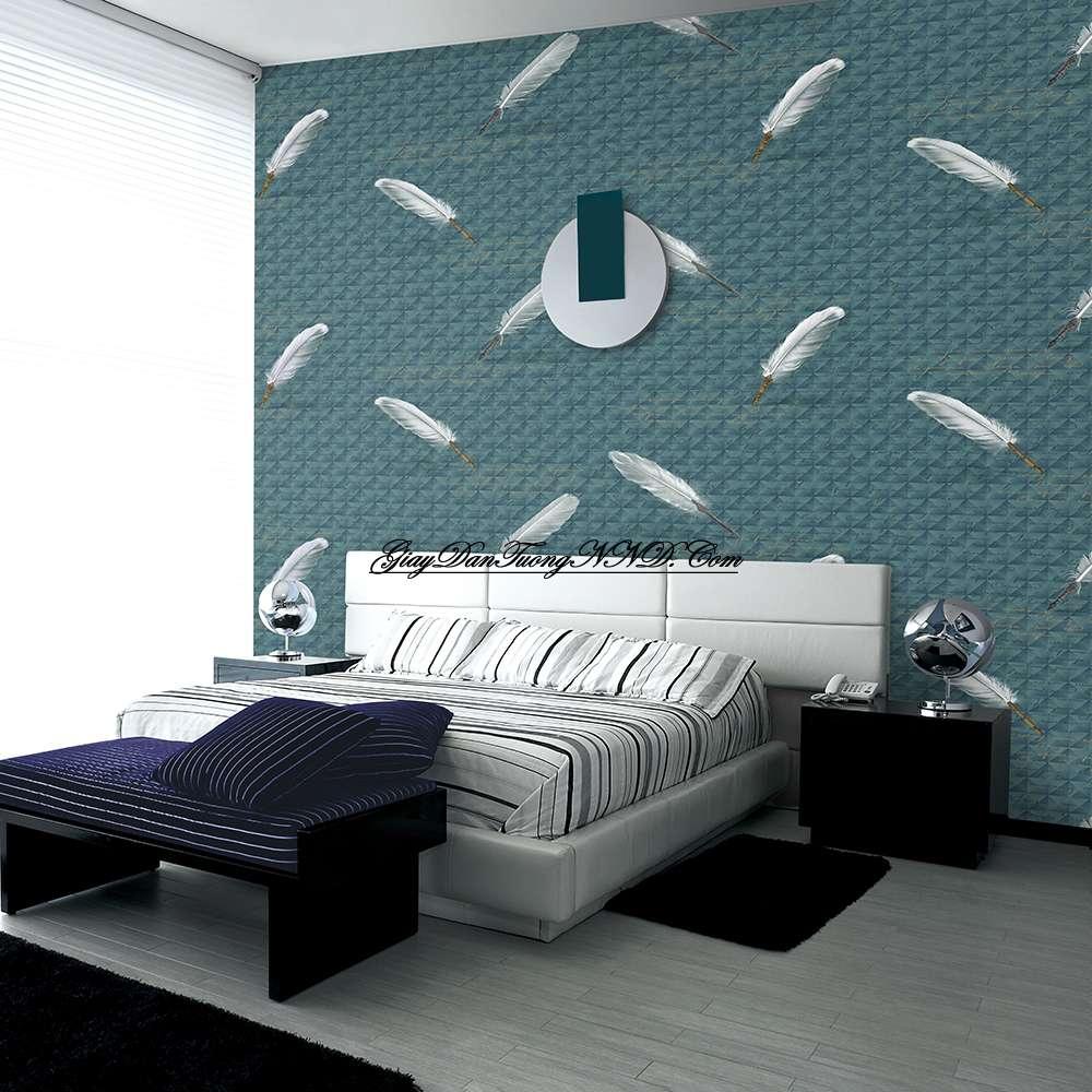 Kết hợp mẫugiấy dán tường 3D tạo điểm nhấn cho không gian phòng ngủ hiện đại